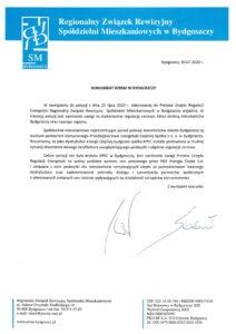 Skan komunikatu regionalnego związku rewizyjnego spółdzielni mieszkaniowych w bydgoszczy