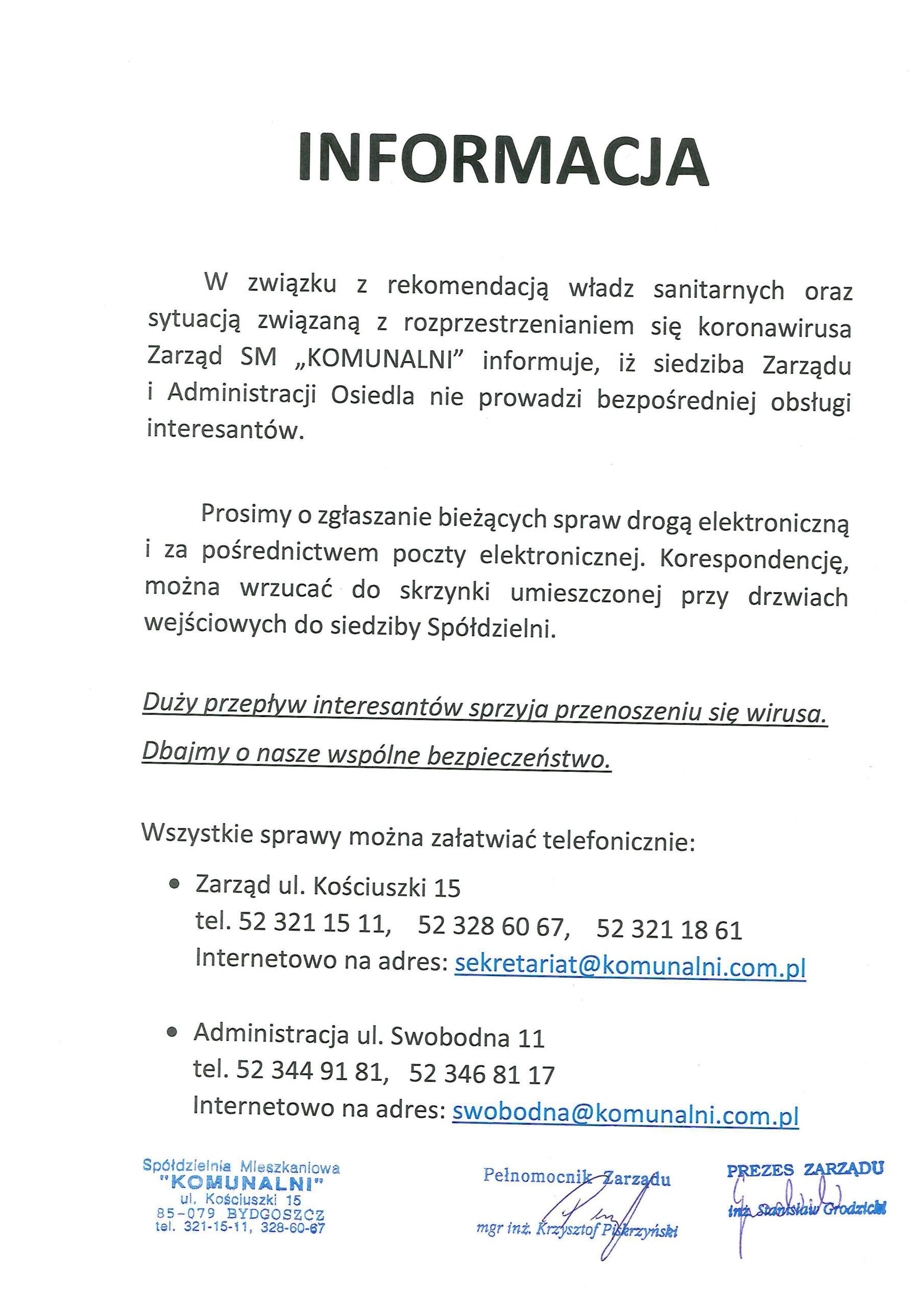 """skan informacji o zmianach funkcjonowania obsługi interesantów spółdzielni mieszkaniowej """"KOMUNALNI"""""""